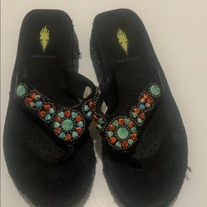 Volatile Sandals Embellished with Beaded Stones